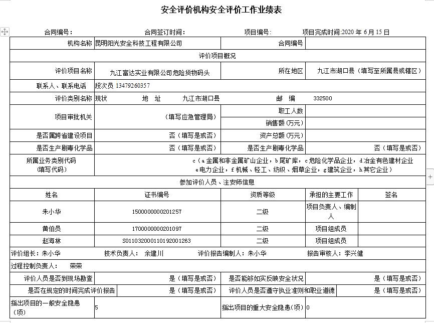 九江富达实业有限公司危险货物码头